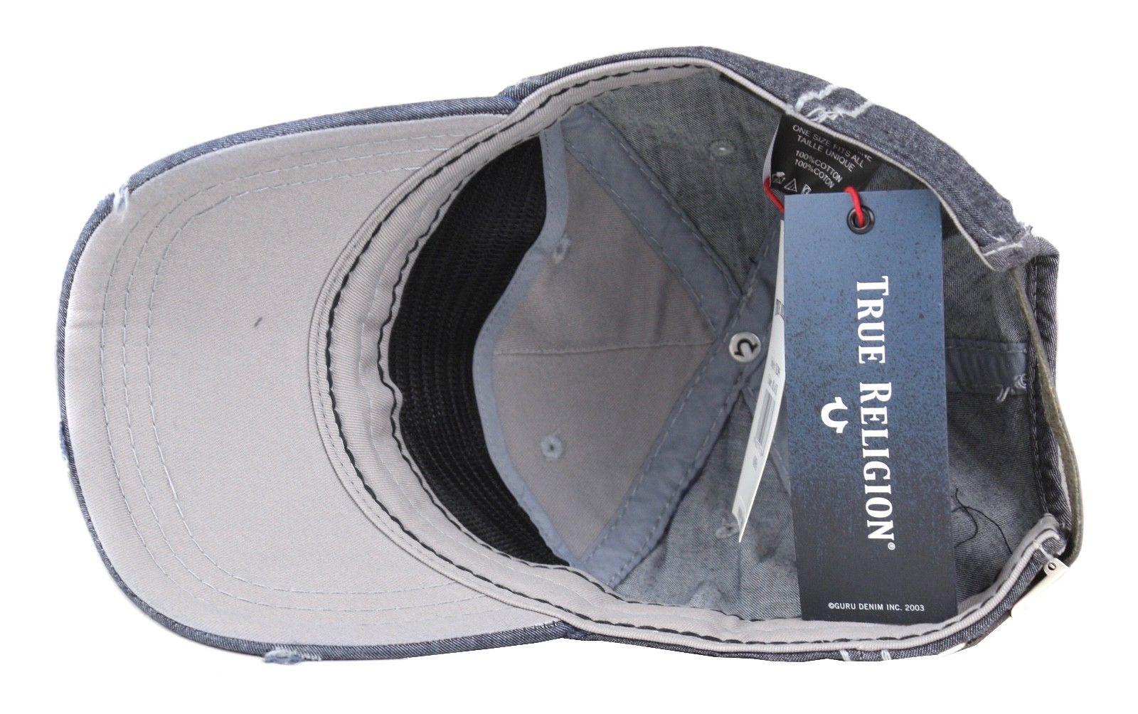 3255b156dc6 True Religion Men s Vintage Distressed Cotton Horseshoe Trucker Hat ...