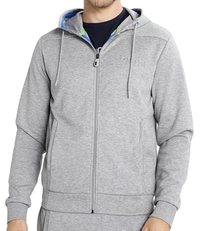 Hugo Boss Men/'s Premium Zip Up Sport Hoodie Sweatshirt Jacket Gray 50290162