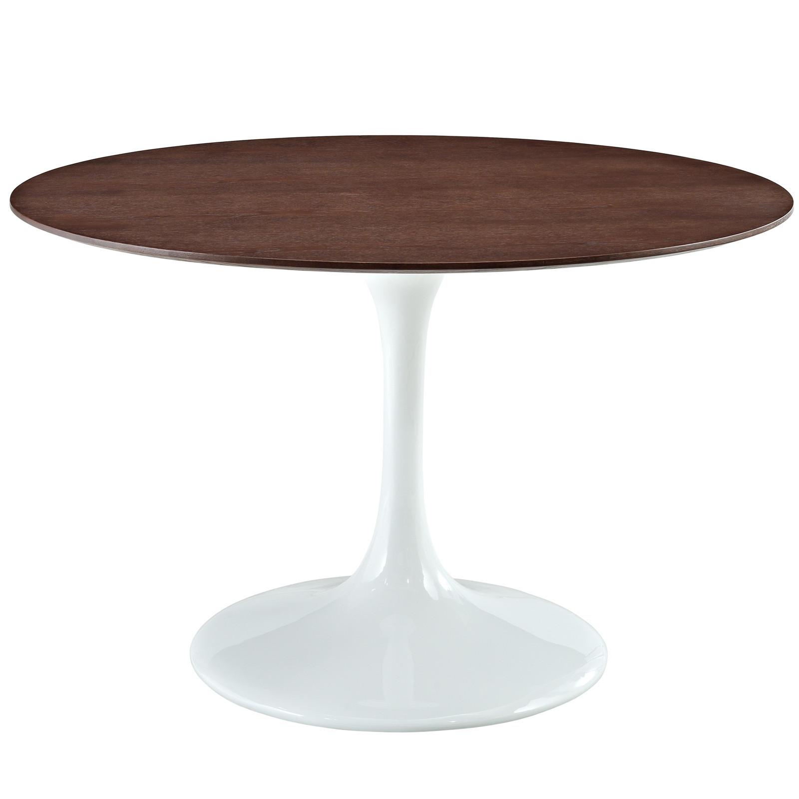 Eero Saarinen Style Tulip Table With Walnut Top In White - White tulip table 48