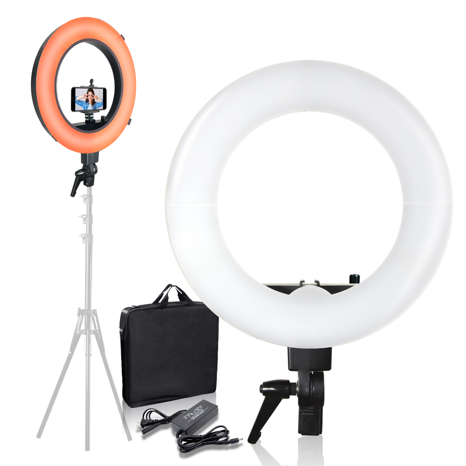 "18"" Photography Ring Light Orange & White Diffuser Cell Phone Mount Adapter Kit"