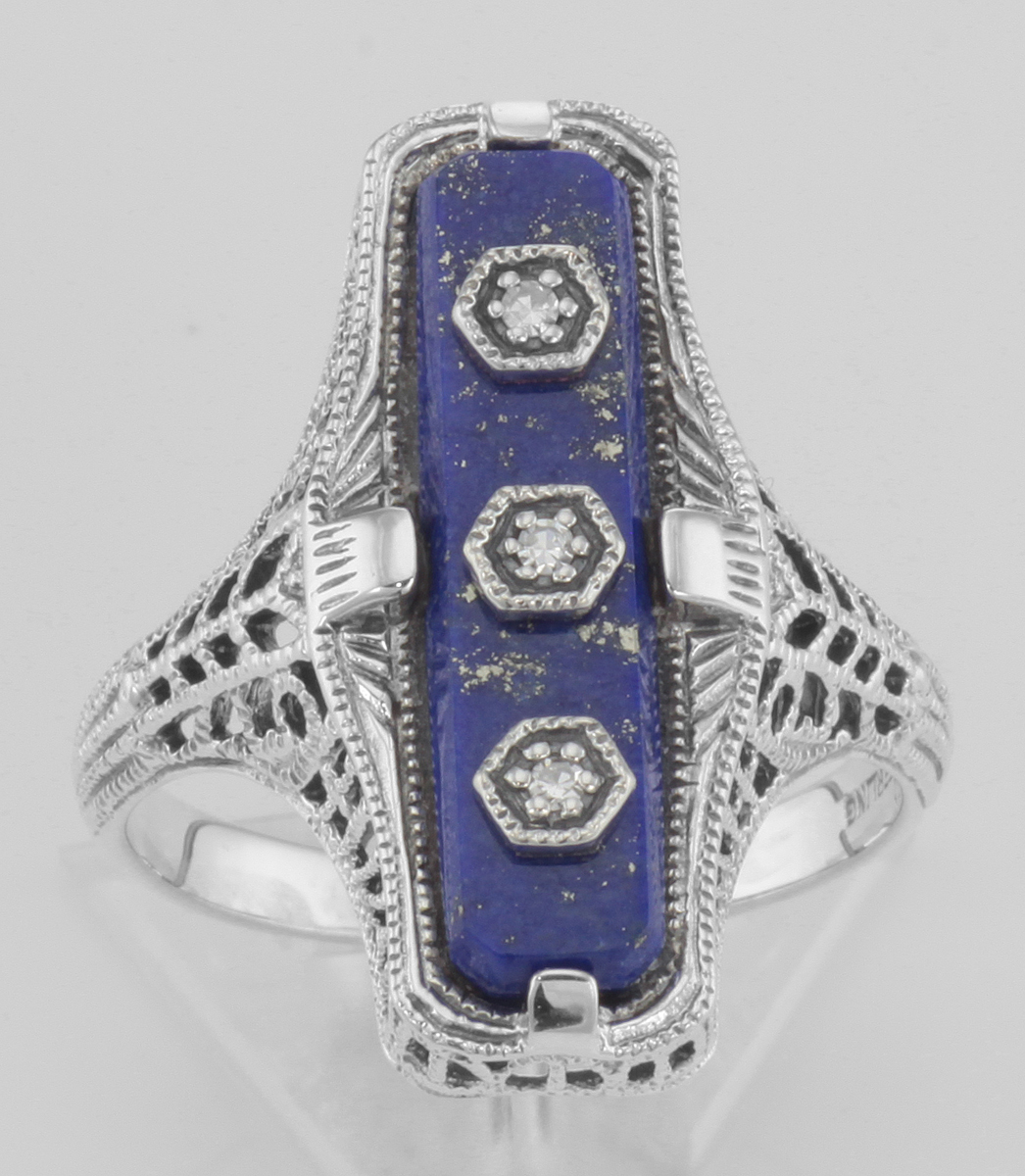 Details about  /Art Deco Style Blue Lapis Filigree Ring 3 Diamond Accents Sterling Silver