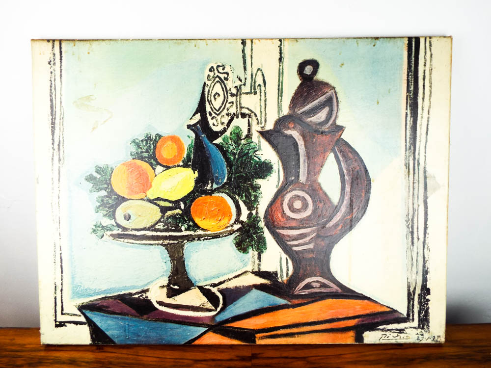 Vintage French Reproduction Picasso Nature Morte au Pichet Oil ...