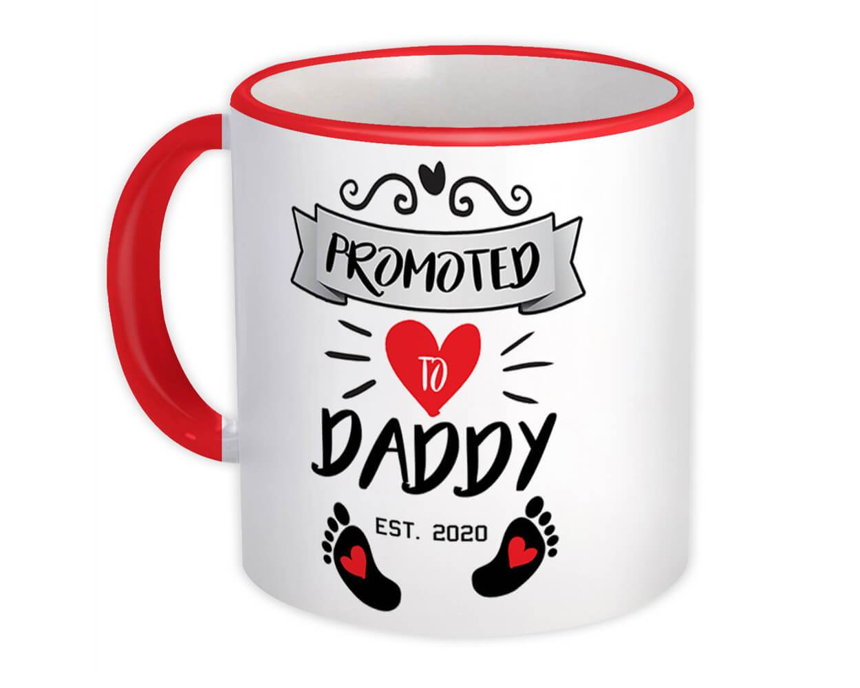 Promoted to Daddy Gift Mug Announcement Pregnant Baby Father Dad