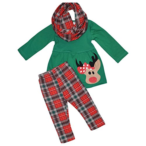 Girls 3 Piece Christmas Rudolph Legging Set Outfit