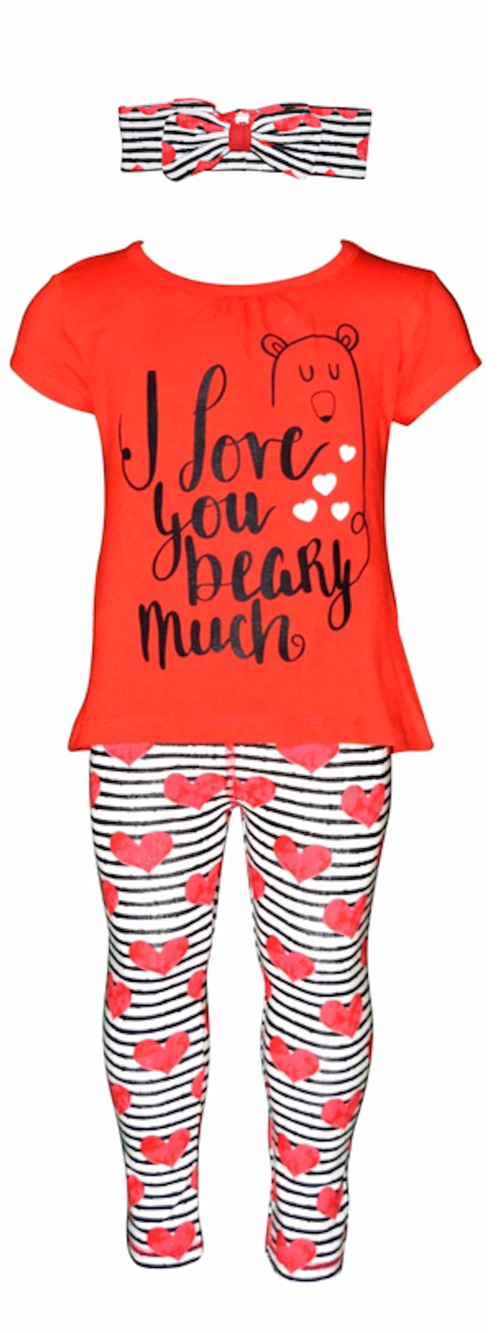 """Unique Baby Girls """"I Love You Beary Much"""" Valentine s Day Outfit"""