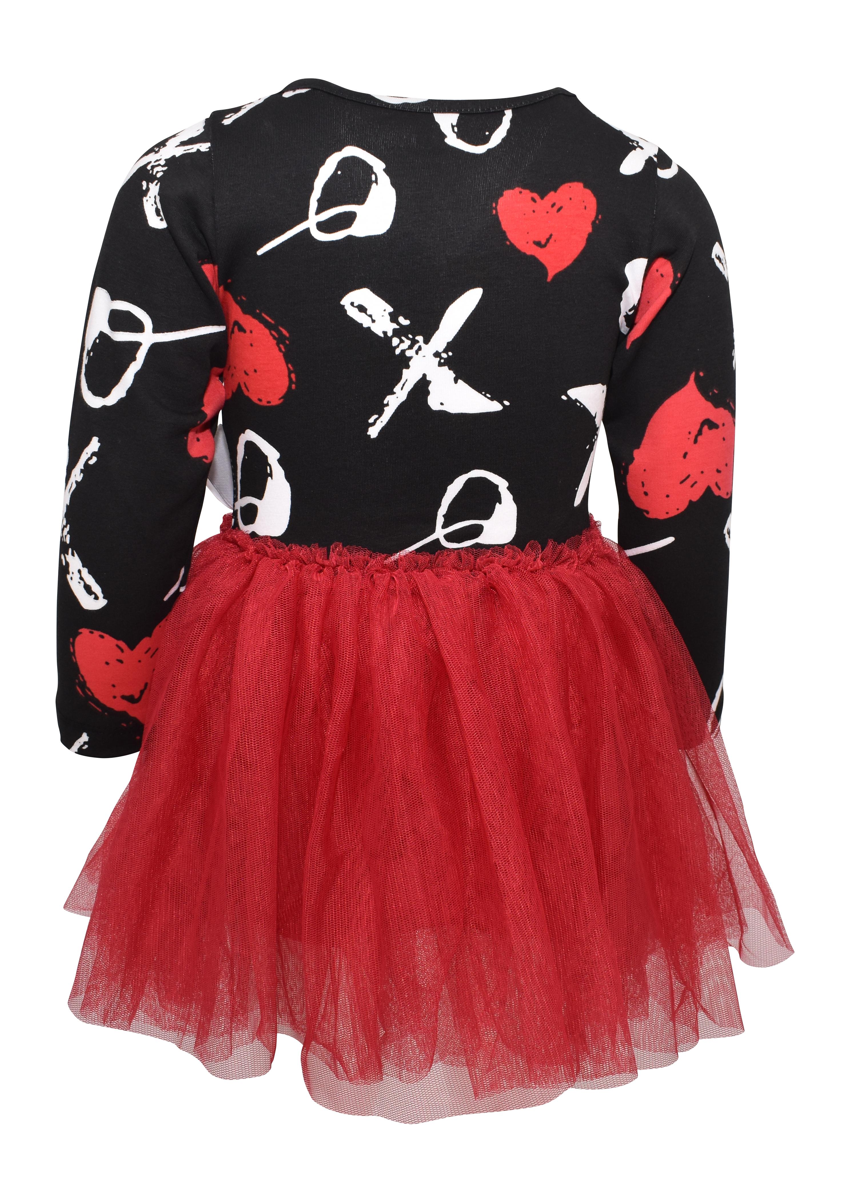 Girls Valentine/'s Day XO Print Long Sleeve Tutu Dress Toddler Kids Clothes