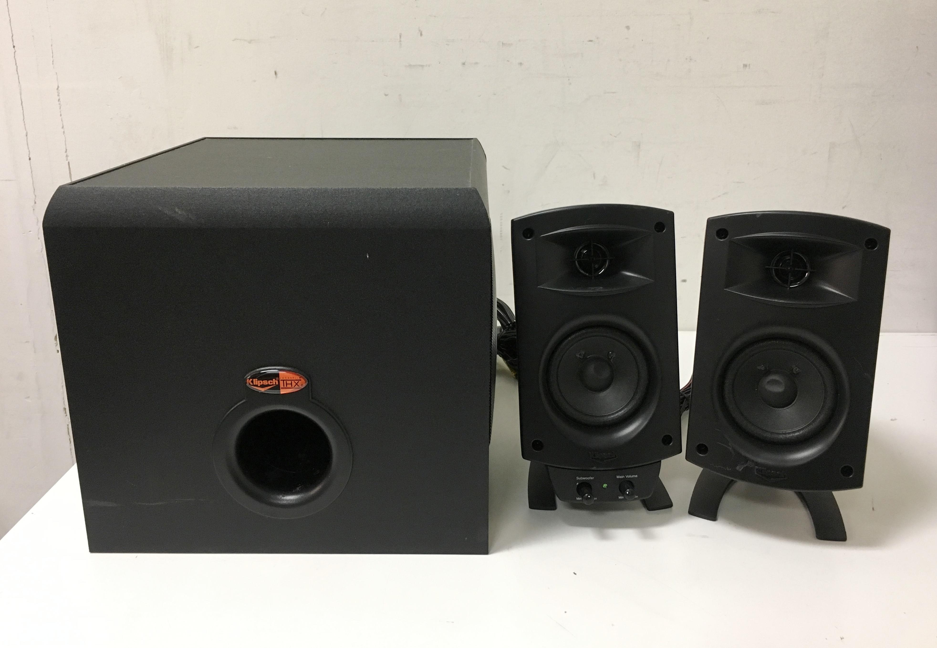 klipsch promedia 2 1 speaker system black klipsch pro 3 pieces. Black Bedroom Furniture Sets. Home Design Ideas