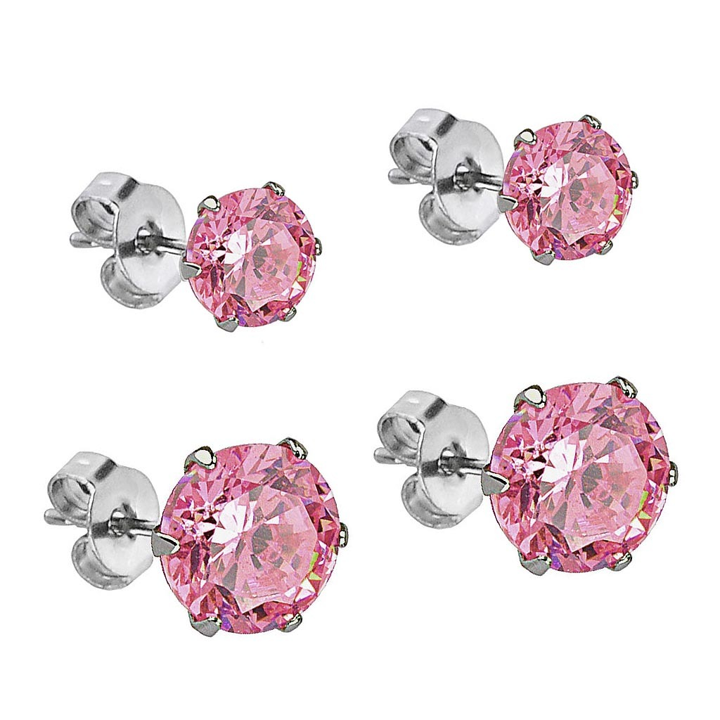 Cz Stud Earrings Stainless Steel Round 3 Amp