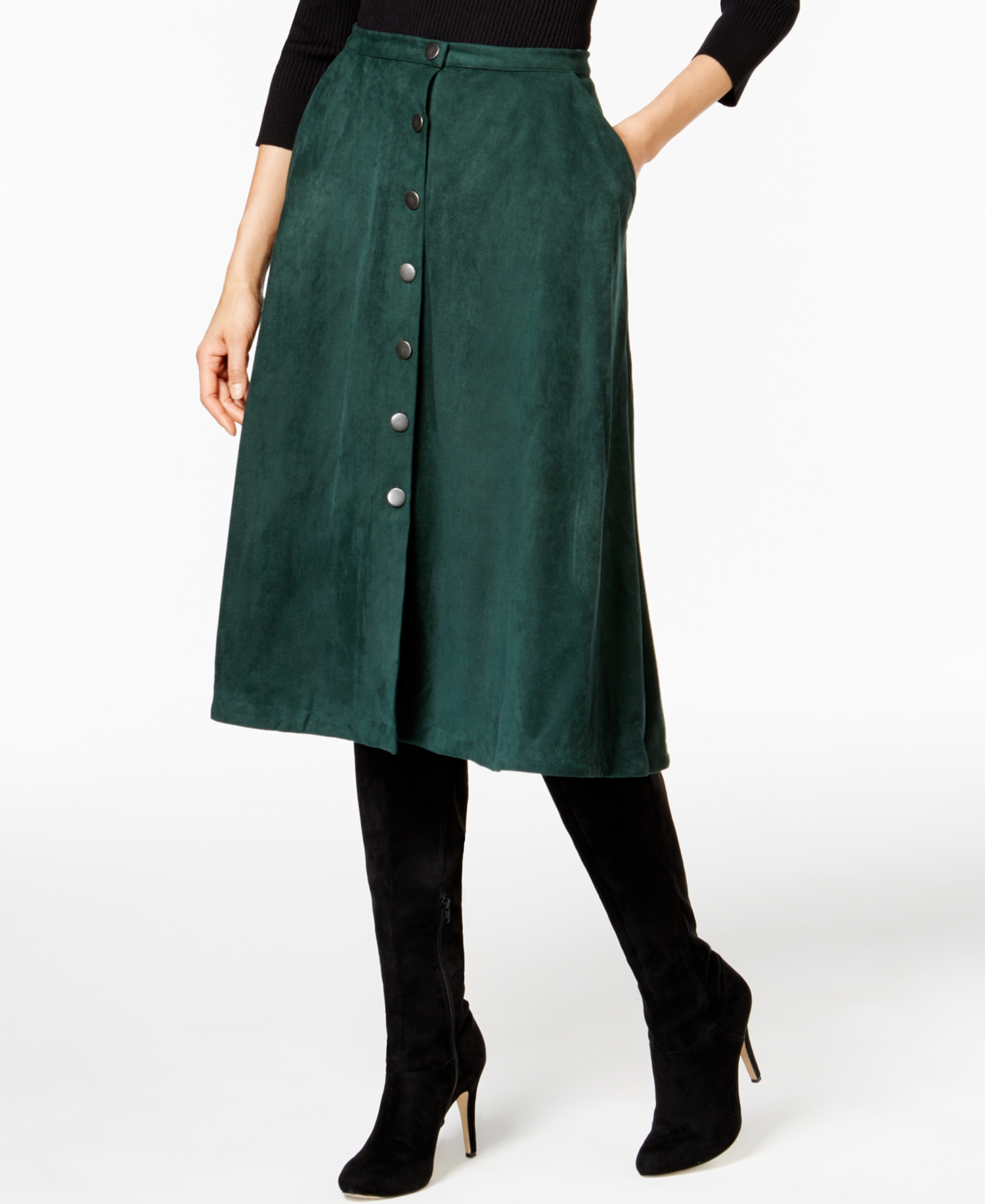 NY Collection Women/'s Faux-Suede A-Line Skirt