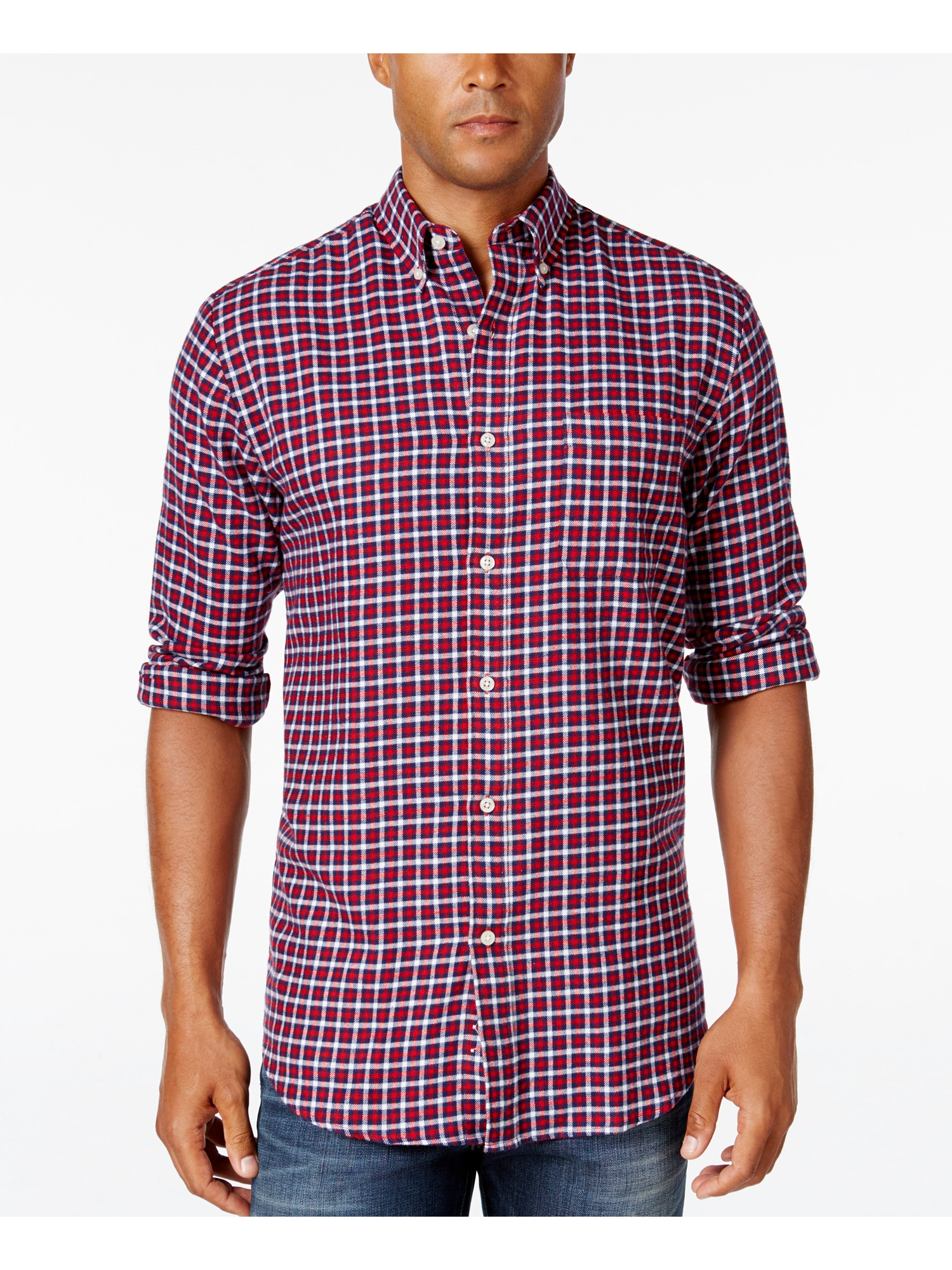 Assorted Colors John Ashford Men/'s Long-Sleeve Flannel Shirt
