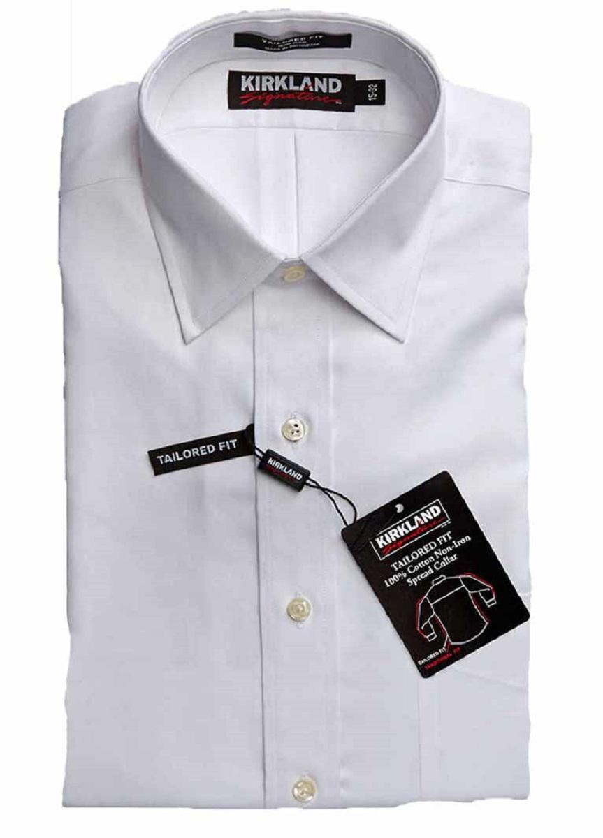 Kirkland signature men 39 s tailored fit spread collar dress for Tailoring a dress shirt