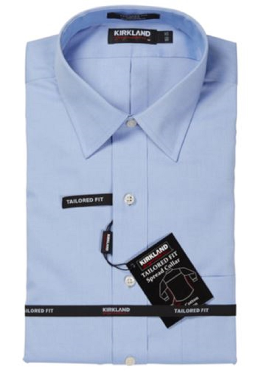 Kirkland signature men 39 s tailored fit spread collar dress for Men s spread collar shirts