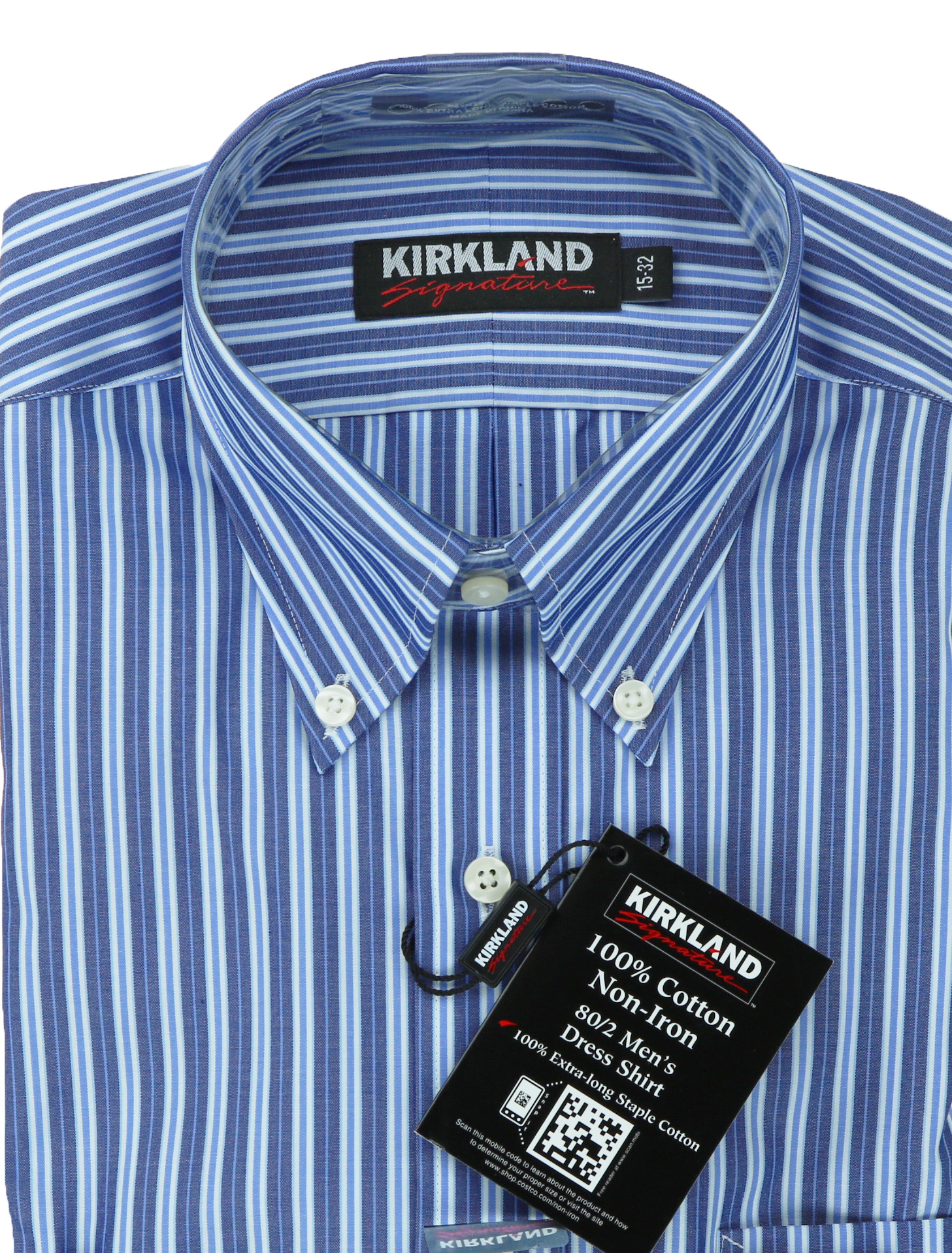 Kirkland signature mens traditional fit button collar for Dress shirt collar fit
