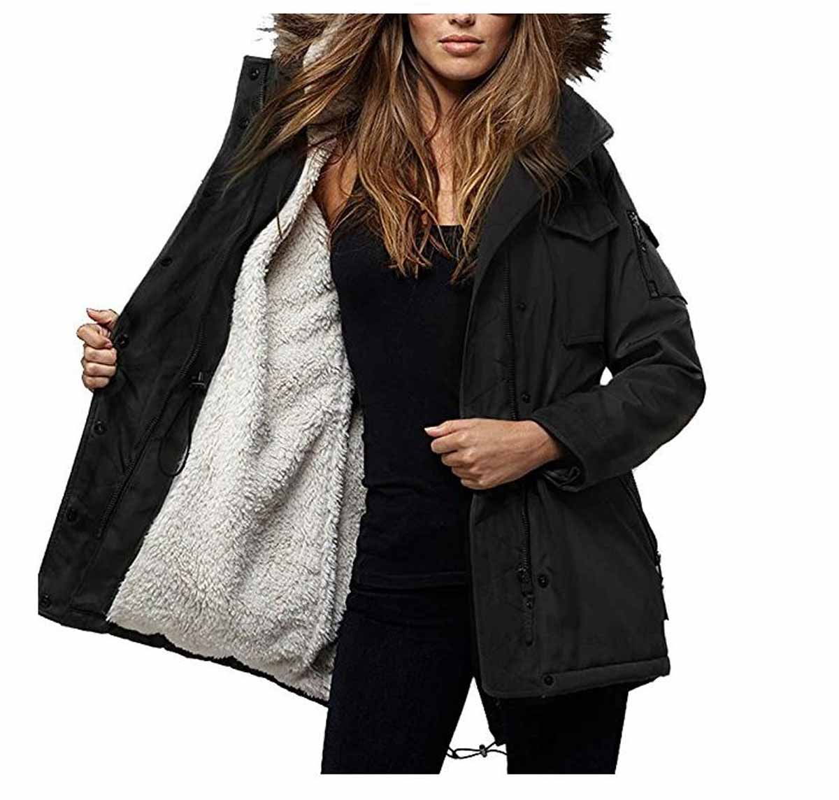 S13 New York Womens Sherpa Lined Ultra Tech Field Parka Coat | eBay