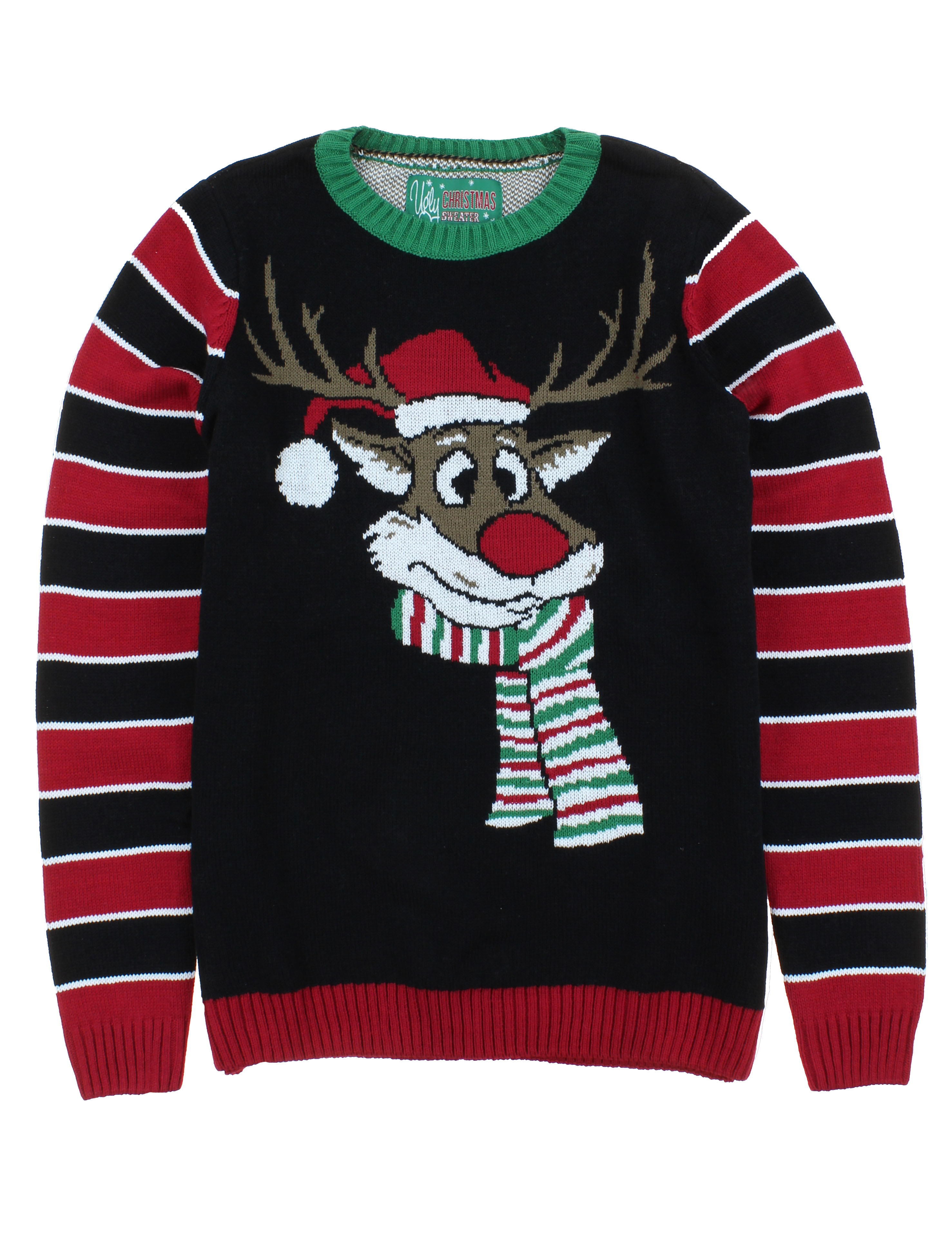 Ugly Christmas Sweater Junior\'s Reindeer Surprise Scarf Pullover ...