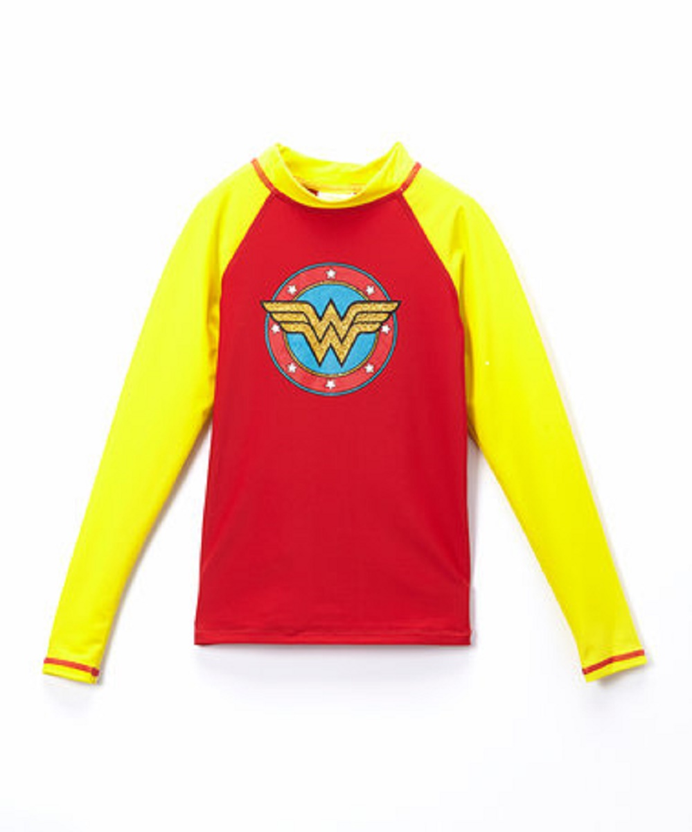 Wonder Woman Batgirl DC Comics Girls Long Sleeve Swim Rash Guard-Supergirl