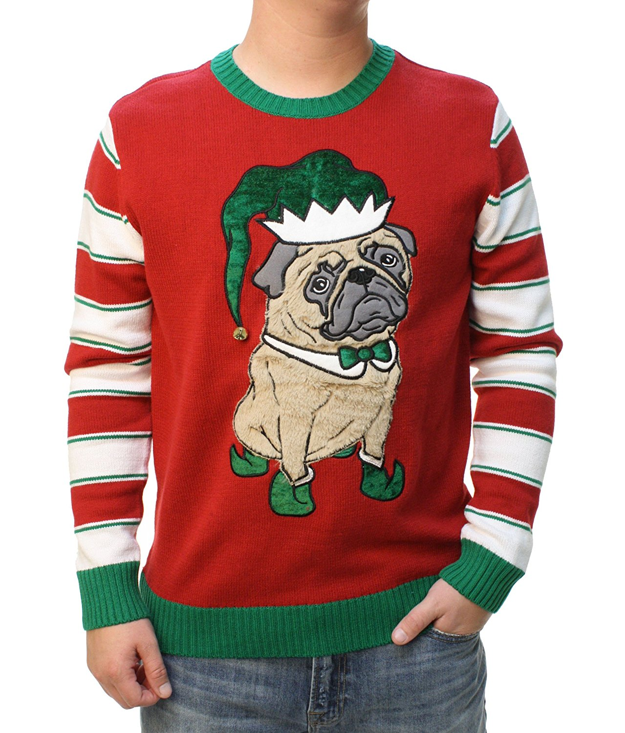 Ugly Christmas Sweater Men/'s 3D Party Pug Elf Hat With Bell Pullover Sweatshirt