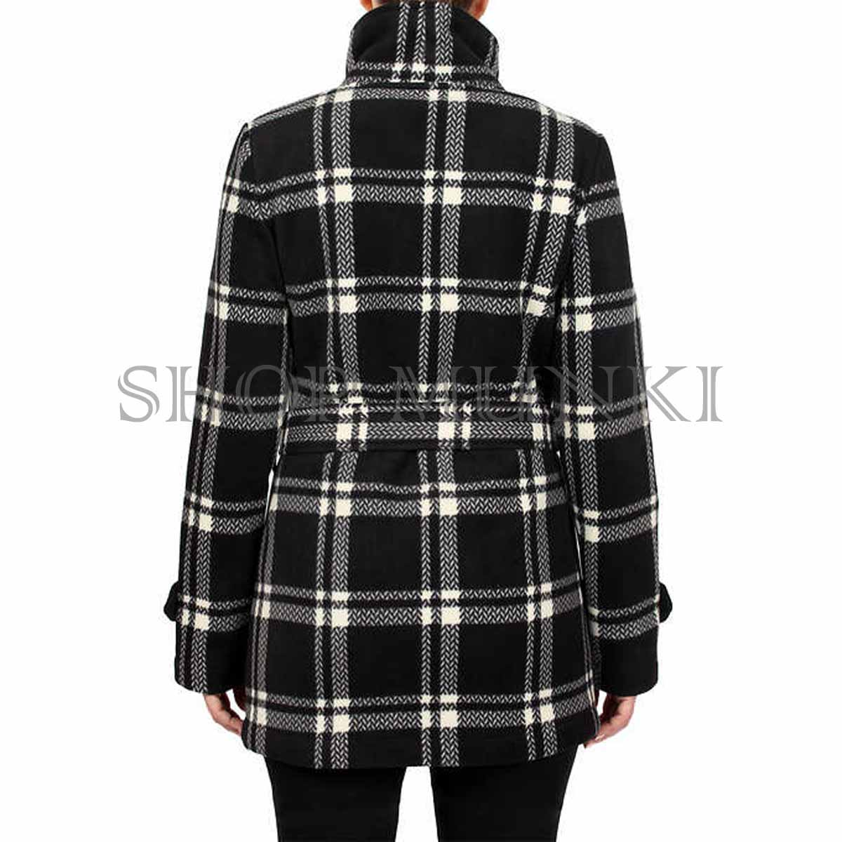 Ike Behar Women/'s Double Breasted Plush Fleece Stand Up Collar Belted Coat