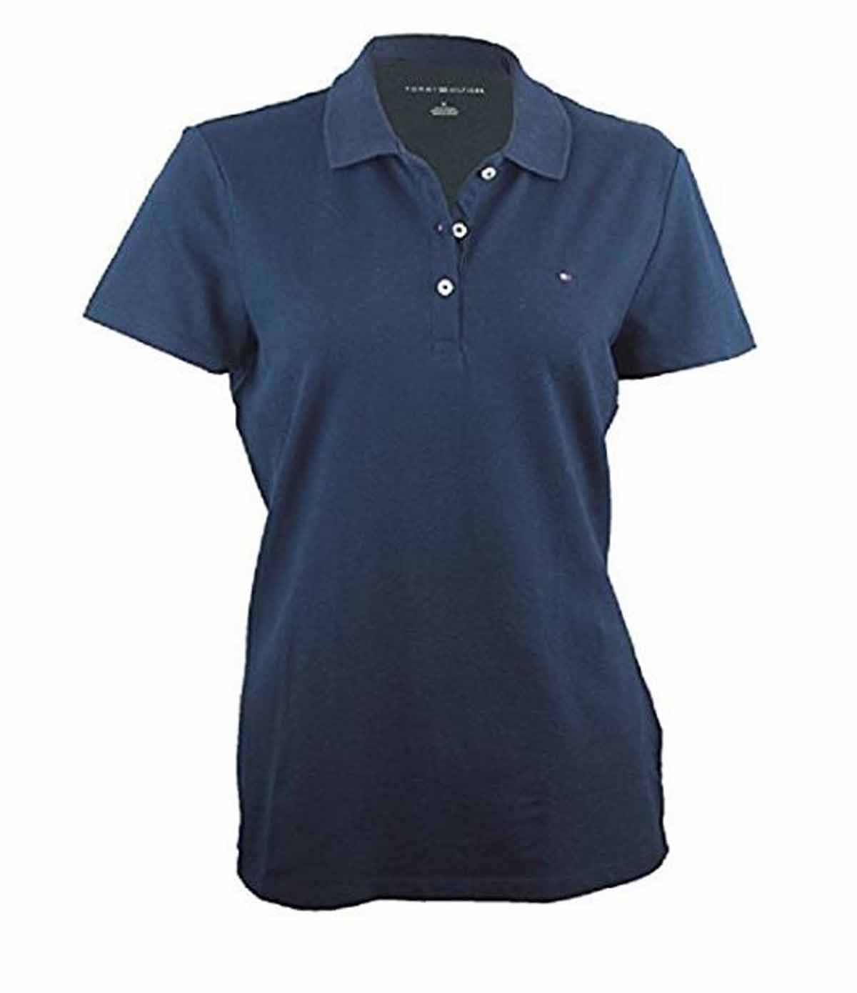 Tommy hilfiger womens classic fit 3 button short sleeve for Polo shirts without buttons