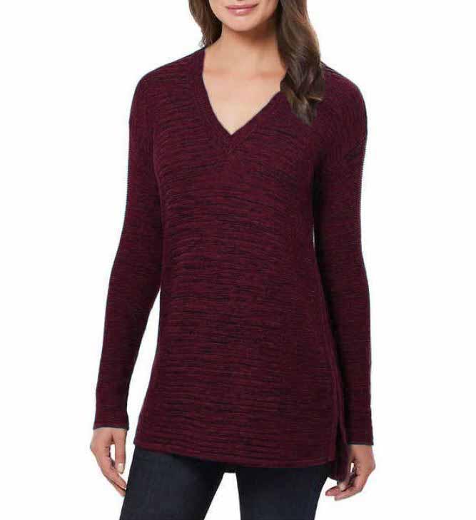 Ellen Tracy Womens V-Neck Marled Knit Pullover Sweater   eBay