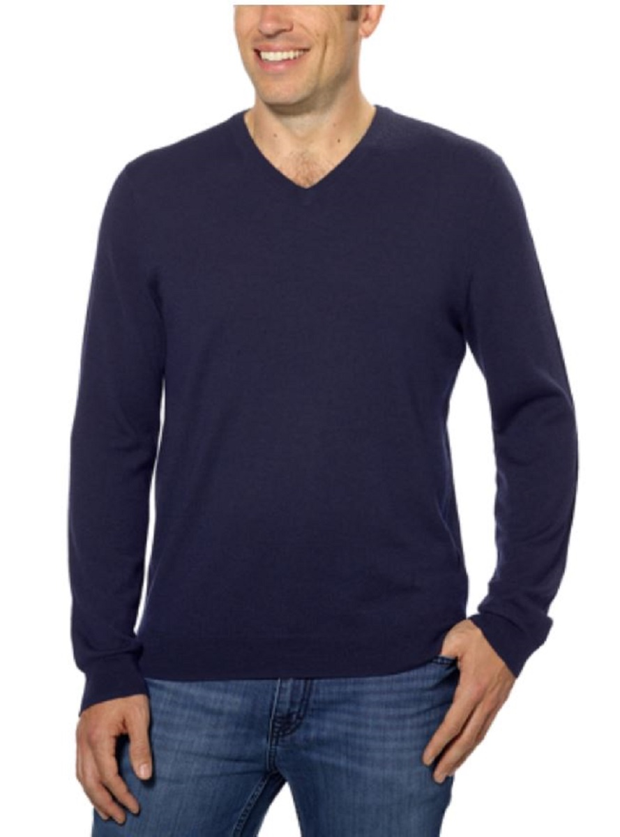 Calvin Klein Mens Extra Fine Merino Wool Long Sleeve Pullover V ...