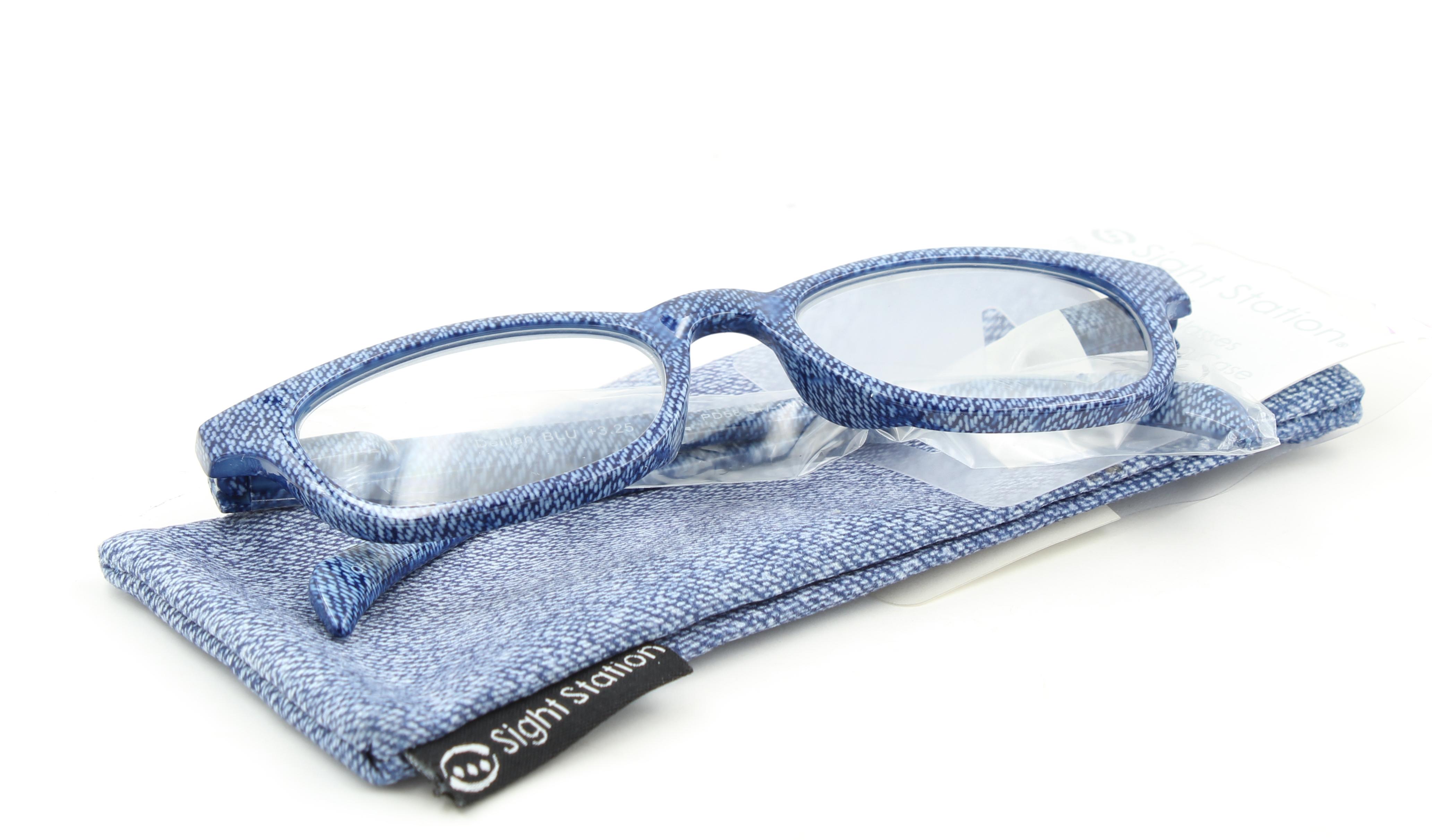 Sight Station Womens Delilah Reading Glasses With Case Denim Blue