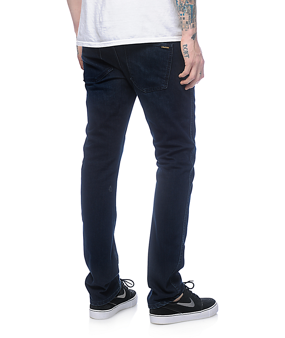 Volcom Mens Vorta Slim-Form Denim Jeans