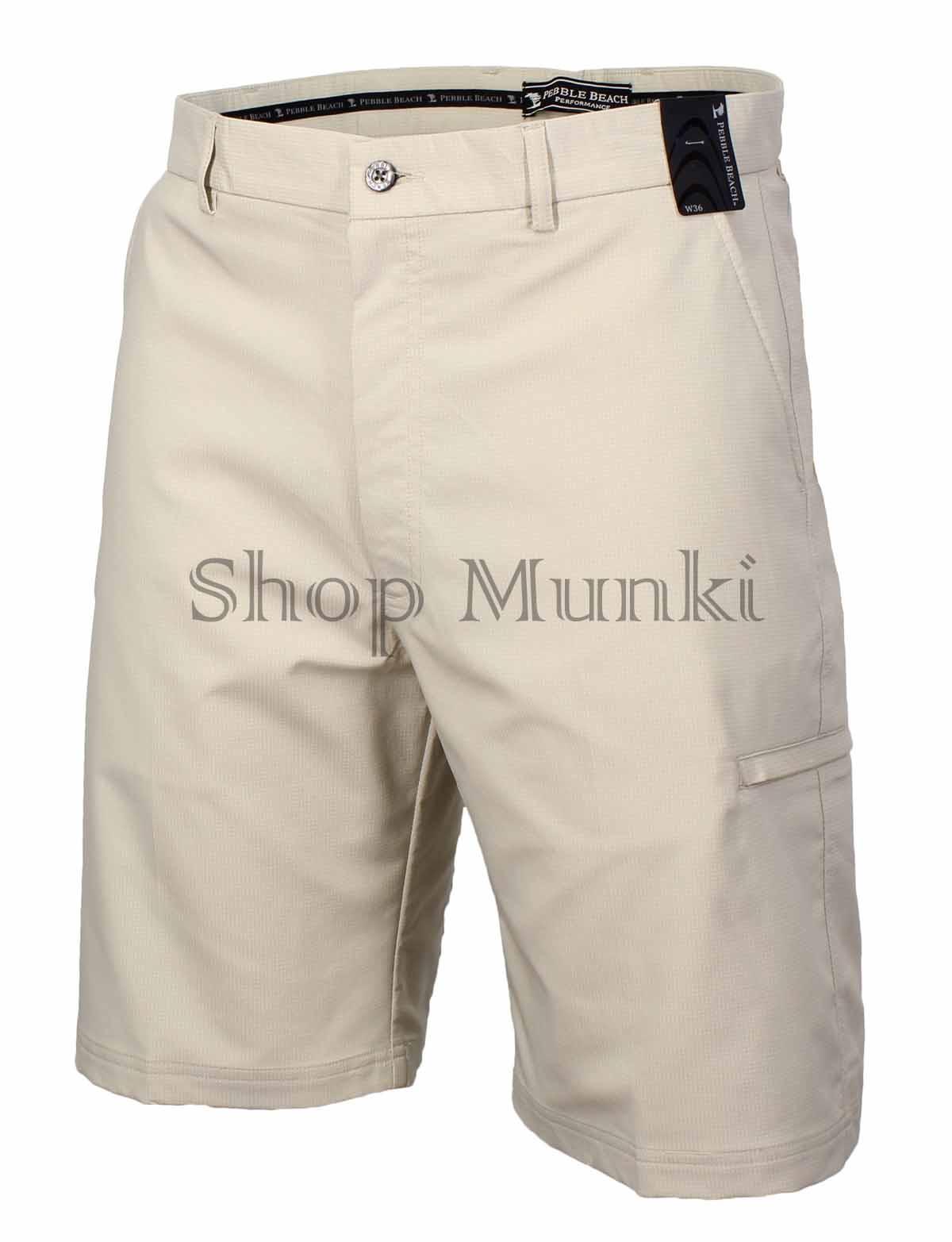 Pebble beach mens performance flat front golf shorts ebay for Pebble beach performance golf shirt