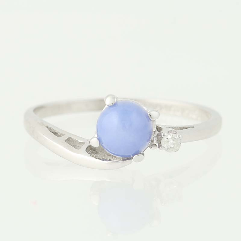 Light Blue Synthetic Star Sapphire Ring Diamond Accents