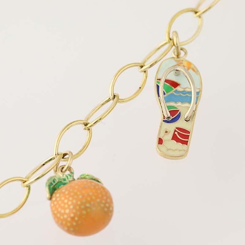"Enamel Charms For Bracelets: Tropical Summer Charm Bracelet 6 3/4"""