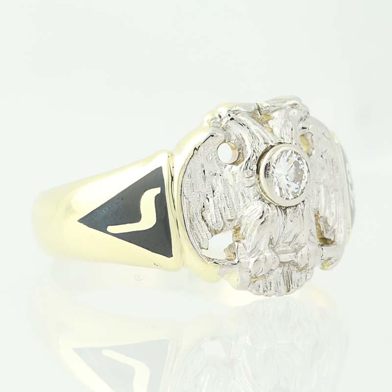 vintage 32nd degree scottish rite ring 14k gold platinum