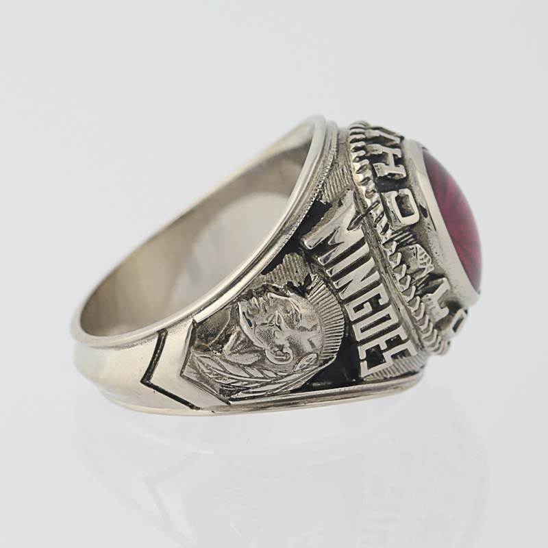 Vintage Class Ring Syn Ruby Chief Logan Mingoes 1975 Stainless Steel 6 75 7