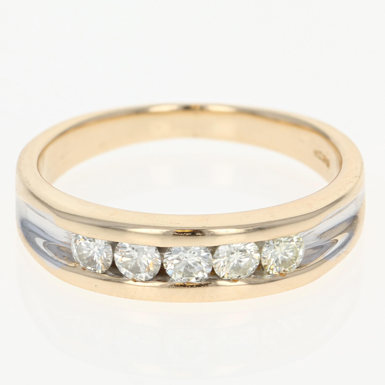 Men s Diamond Wedding Band 14k Yellow Gold Channel Set Ring