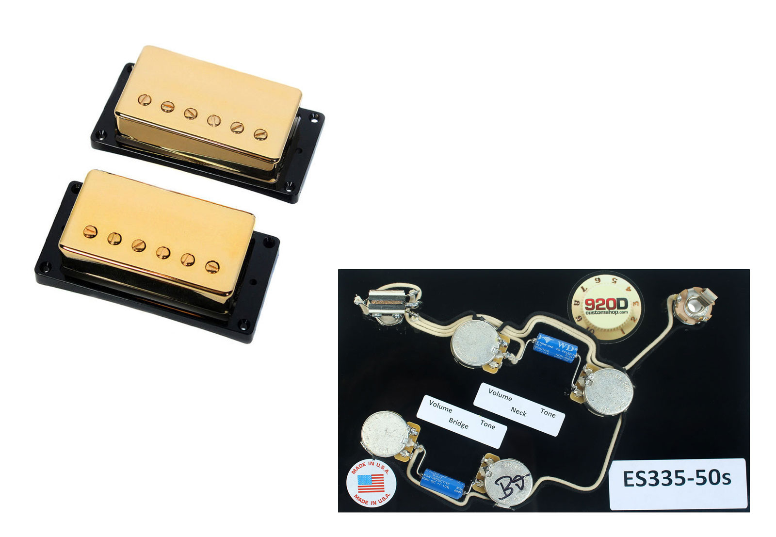 Duncan Sh 1 59 Vintage Blues Humbucker Guitar Pickup Set Gold Es 335 Wiring Harness Image Is Loading 039