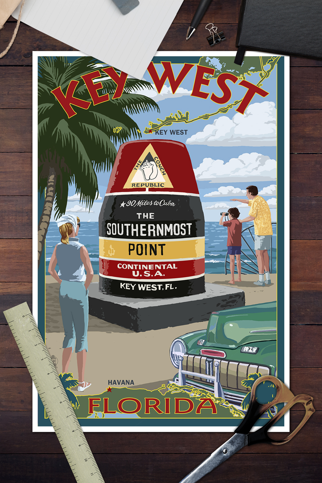 Posters, Wood /& Metal Signs FL Southernmost Point Key West LP Artwork