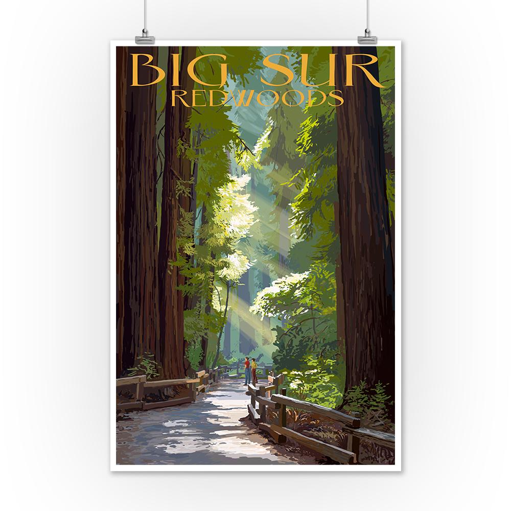 CA LP Artwork Posters, Wood /& Metal Signs Pathway /& Hikers Big Sur