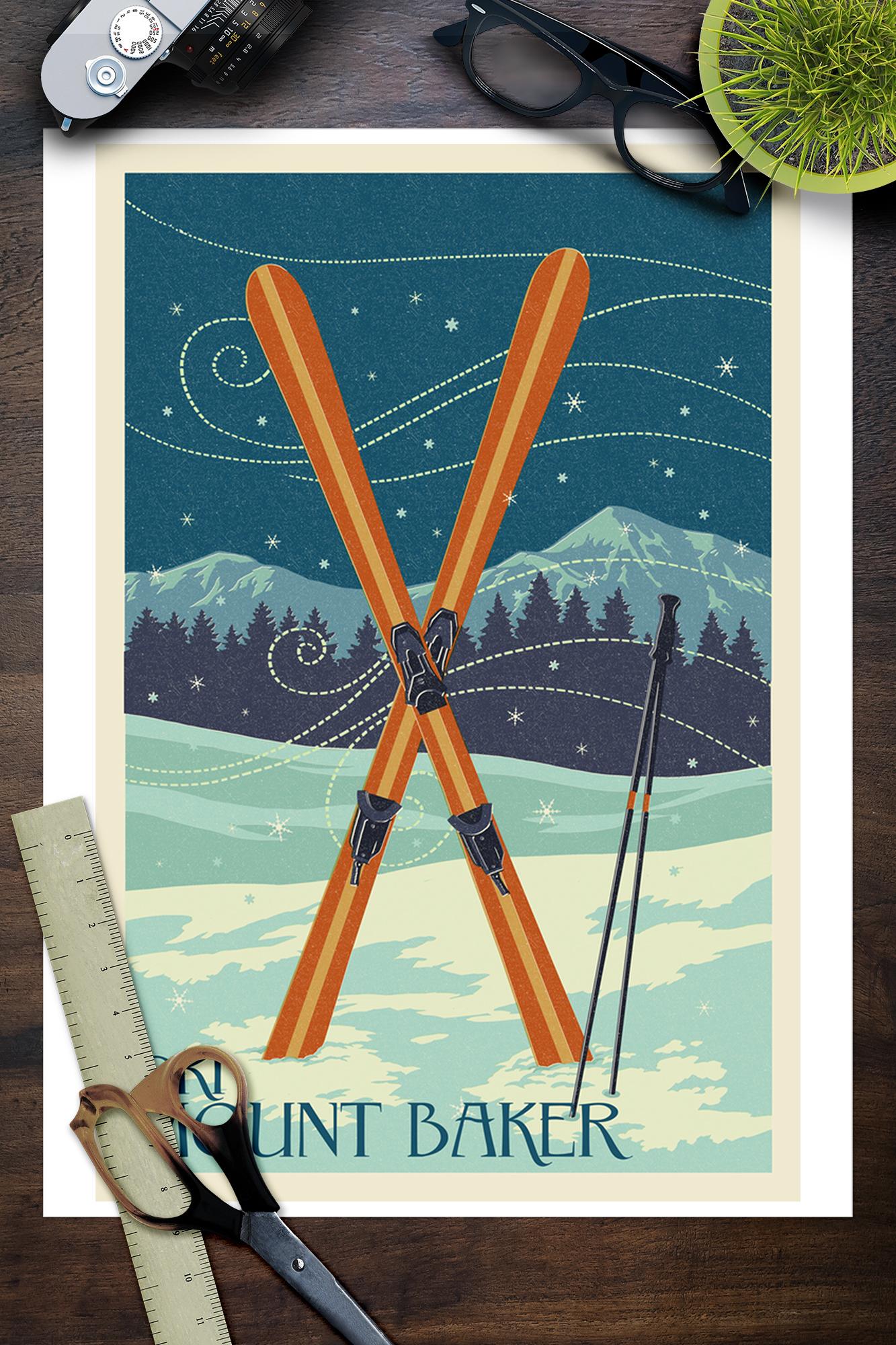 Posters, Wood /& Metal Signs LP Artwork WA Crossed Skis Letterpress Mt Baker