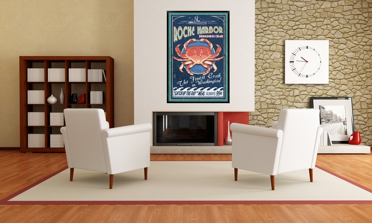 Roche Harbor Dungeness Crab Vintage Sign Posters, Wood /& Metal Signs WA