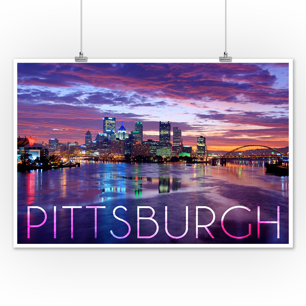 Posters, Wood /& Metal Signs PA City Lights at Night LP Photography Pittsburgh
