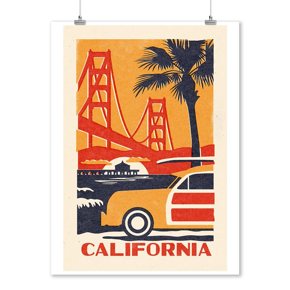 Woodblock Art Posters, Wood /& Metal Signs, Canvas, Tote Bag California