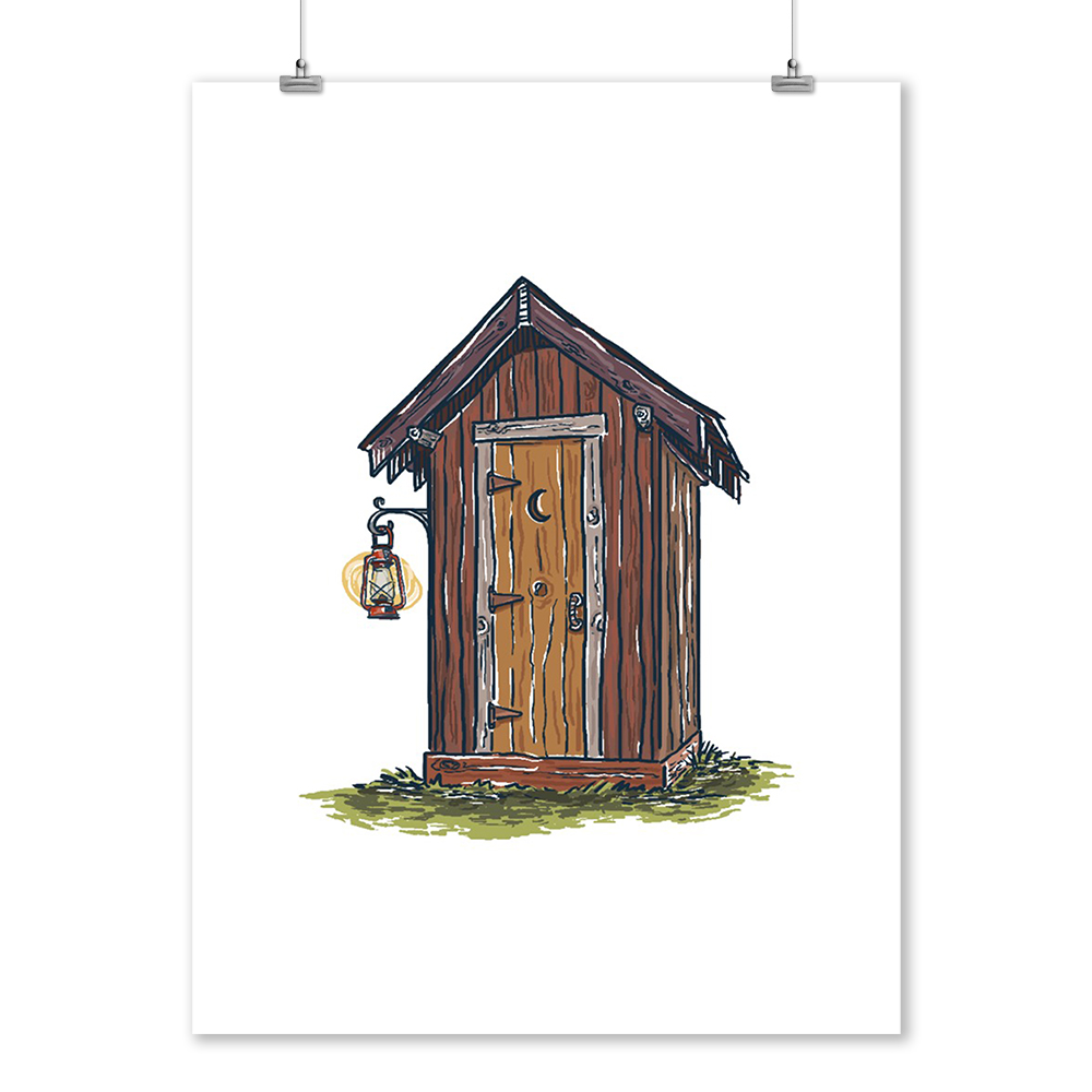 Outhouse Icon Art Posters, Wood /& Metal Signs, Canvas, Tote Bag, Towel