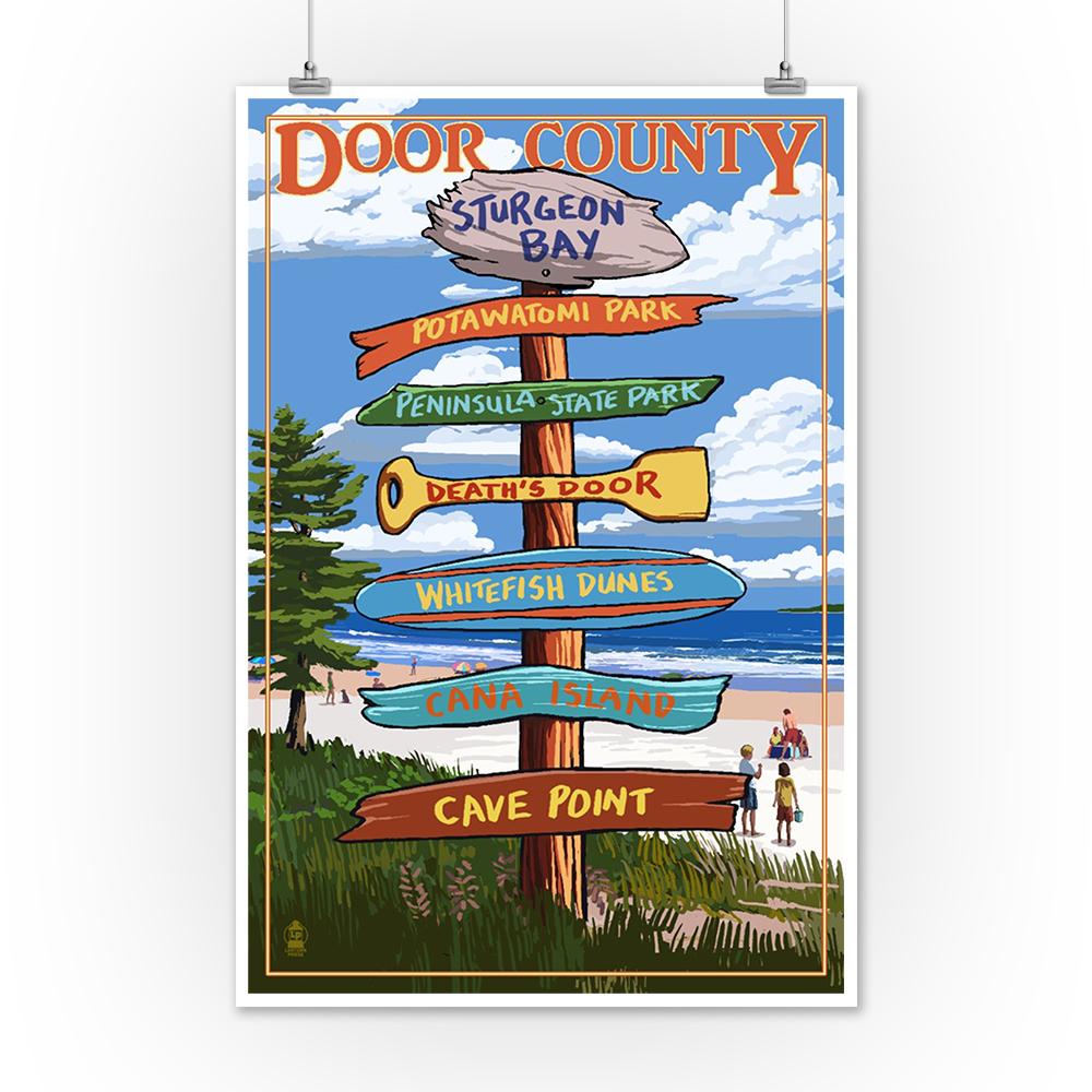 Wisconsin Destination Signpost Door County Art Posters, Wood /& Metal Signs