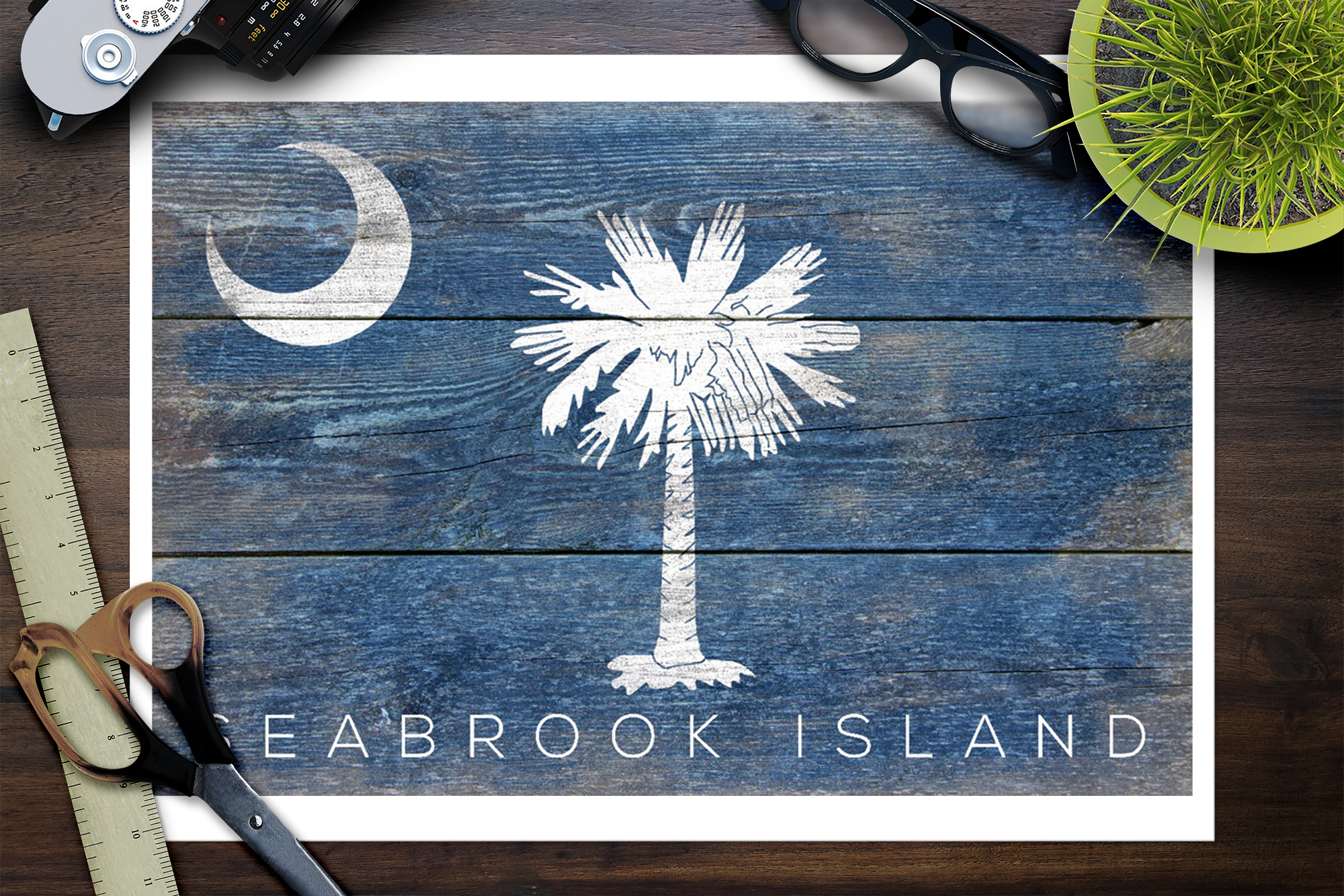 Prints, Signs, Canvas, More Seabrook Island South Carolina Rustic State Flag