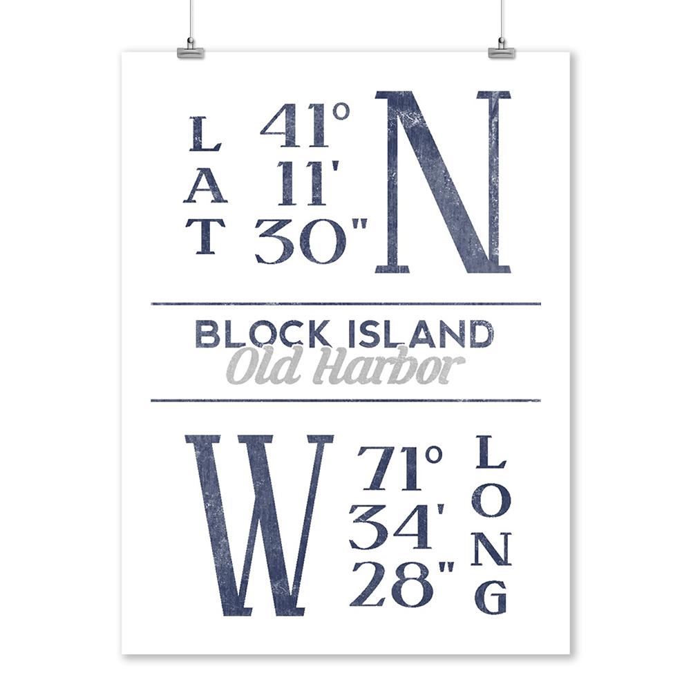 Block Island Rhode Island Latitude /& Longitude Art Prints, Signs, Canvas, More