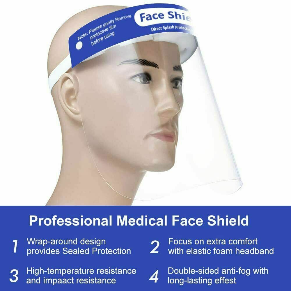 Safety Face Shield Protect Face and Eyes with Adjustable Band and Comfort Sponge