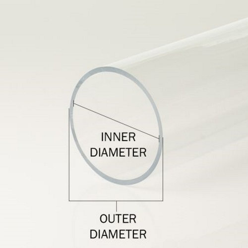"""For diy, Craft, Laser Cutting,... Clear Acrylic Tube 2/"""" OD x 1-3//4/"""" ID"""