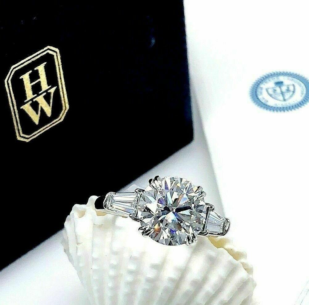 Original Harry Winston 4 10 Carats Gia D Vvs1 Diamond Platinum Engagement Ring Ebay