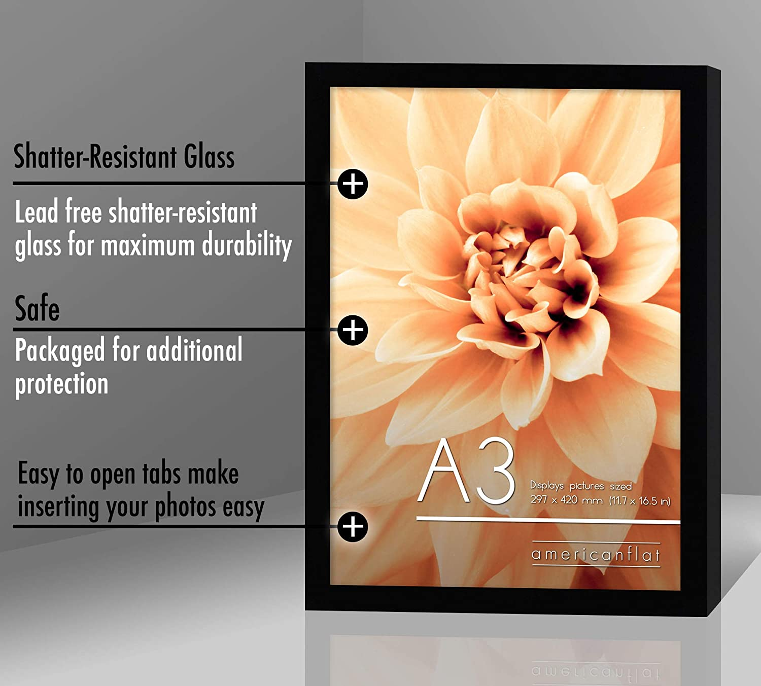 miniature 4 - Americanflat Picture Frame in Black Wood - Shatter Resistant Glass