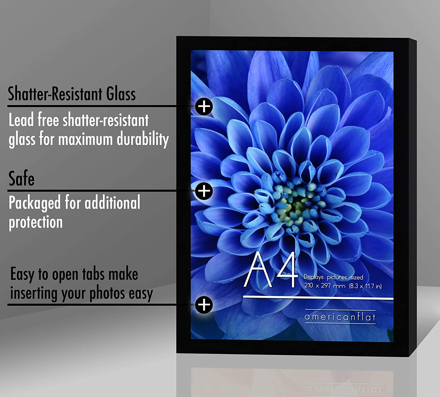 miniature 11 - Americanflat Picture Frame in Black Wood - Shatter Resistant Glass