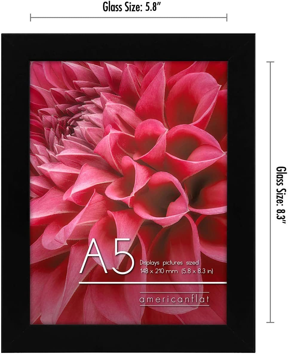 miniature 16 - Americanflat Picture Frame in Black Wood - Shatter Resistant Glass